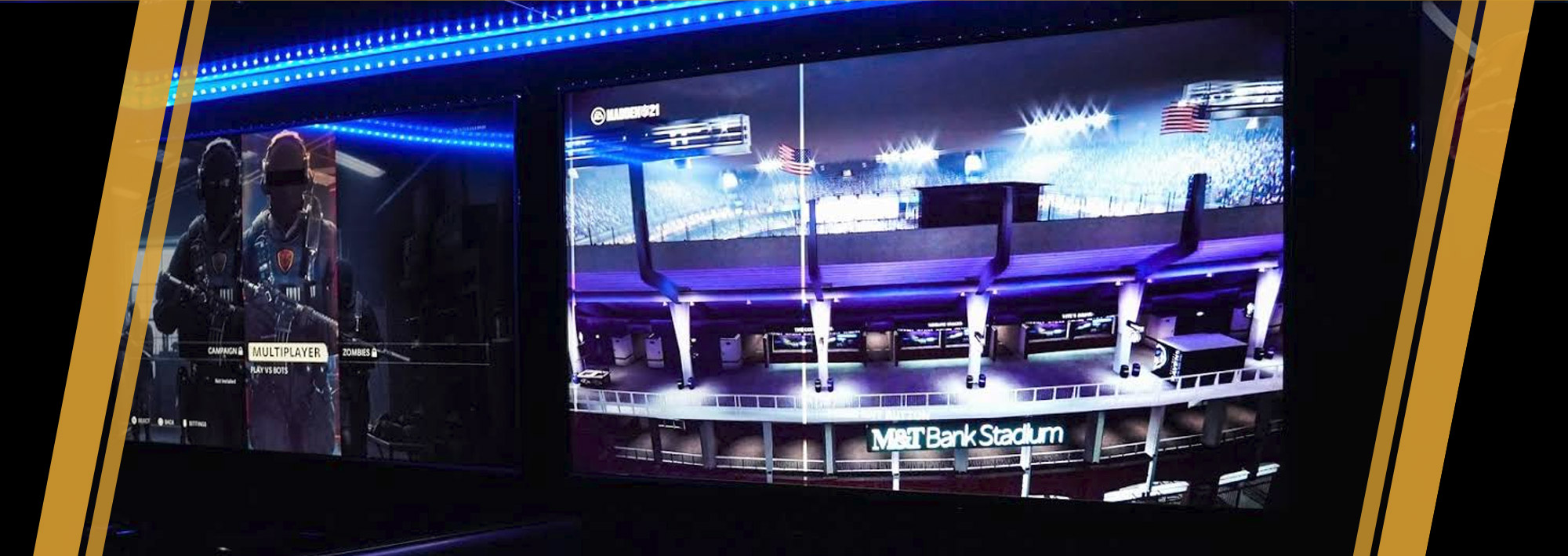 Inside the gaming trailer there are 4 widescreen 50-inch HD screens, allowing 2 to 3 players on each tv