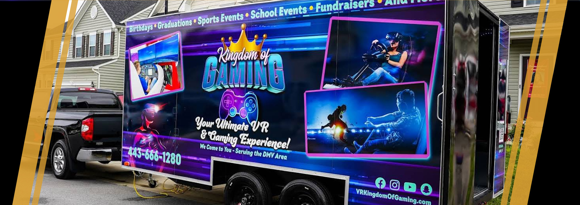 20-foot high definition gaming truck made to handle up to 18 gamers inside and outside