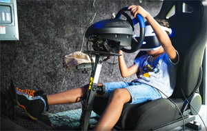 VR games available including a race car simulator.
